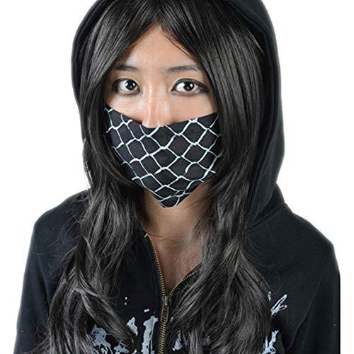 Grunge Rock Kostüm - Black Sugar Unisex Staubschutz-Maske, Baumwolle, Mund, Gesicht, Nase Harajuku Rock Punk Grunge, Weiß