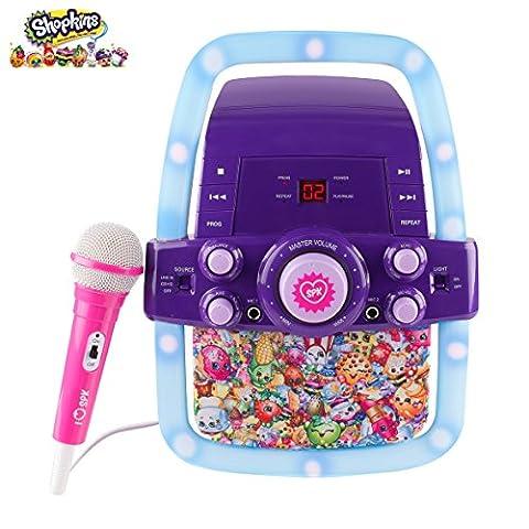 Kinder-Karaoke-Maschine Portable Speaker Kit für Kinder / Kinder Spielzeug mit Mikrofon Shopkins Flashing Bar Karaoke mit MP3-Player AUX Jack-Point für Verbinden Sie Ihr iPad, iPhone, iPod, Tablet-Gerät, oder der CD-Player spielt Musik und Mitsingen! (Shopkins)