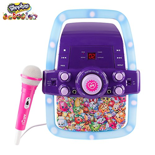 Kinder-Karaoke-Maschine Portable Speaker Kit für Kinder / Kinder Spielzeug mit Mikrofon Shopkins Flashing Bar Karaoke mit MP3-Player AUX Jack-Point für Verbinden Sie Ihr iPad, iPhone, iPod, Tablet-Gerät, oder der CD-Player spielt Musik und Mitsingen! (Shopkins) (Pc-remover-software)