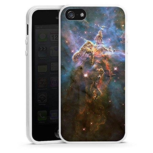 Apple iPhone 4 Housse Étui Silicone Coque Protection Montagne mystique Galaxie Espace Housse en silicone blanc
