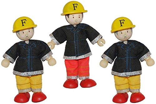 Preisvergleich Produktbild 3 tlg. Set Biegepuppe Holz - Feuerwehrmänner - Budkins für Puppenhaus Holzpuppen Feuerwehr Rettung