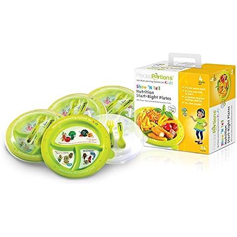 Portion control piatti per bambini–SHOW N 'tell Nutrition Start–Diritto Precise porzioni–Set di 4–kid Safe–Piatto Senza (Chinese Buffet Cabinet)