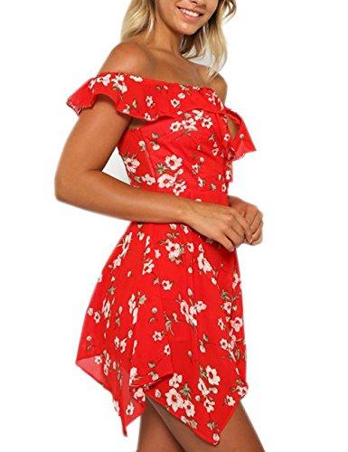 HJMTRY Sexy moda, le donne, irregolare a manica corta Dress Vintage Red