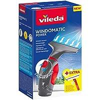 Vileda Windomatic Power Set - Aspirador de ventanas y mopa microfibras con spray, limpiacristales con cuello flexible y pulverizador con mopa, extra potencia, medidas 17.5 x 12 x 32 cm, rojo y negro