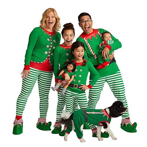 Poonkuos Matching Navidad Pijama para Familia - Papa Mama Niños Bebé Familia Xmas Raya Impresión Homewear Ropa de Dormir Romper