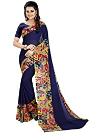 Zypara Women's Blue Georgette Sarees For Women Latest Design With Blouse Piece (BLUEMULTICOLOR_40008)