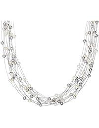 Valero Pearls - Collar de perlas embellecido con Perlas de agua dulce - Alambre de acero inoxidable - 925 Plata esterlina - Pearl Jewellery, Cadena de Alambre de acero inoxidable - 440520