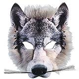 Adulto infantil REALISTA artificial de Lobo Máscara Pack Animal Jungla Hombre Lobo Disfraz de Carnaval Máscara