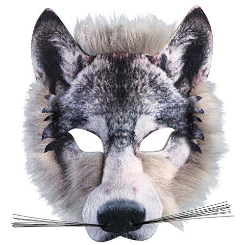 Für Erwachsene & Kinder Realistische Kunstpelz Wolf Gesicht Maske Pack Animal Jungle Werwolf Buch Woche Kostüm ()
