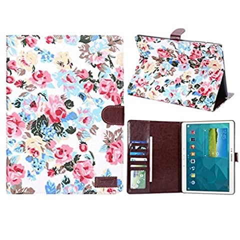 HYAIT® White - Fashion Beautiful Flowers Cloth Vein Magnetic Snap Wallet Flip Leather With Stand Hard Cover Case For Tab S 10.5