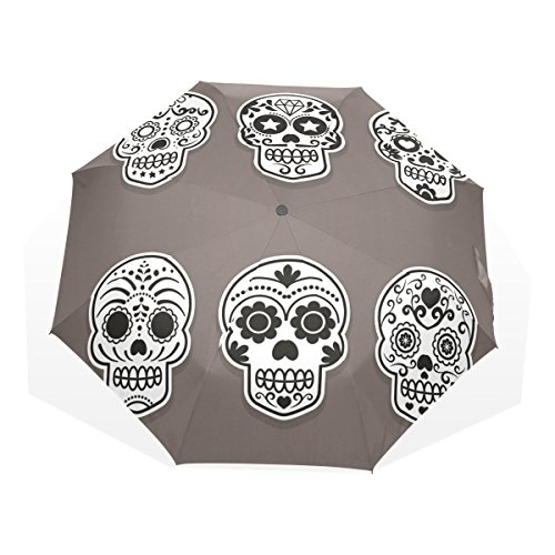 GUKENQ - Paraguas de Viaje con diseño de Calavera de azúcar, Ligero, antirayos UV, para Hombres, Mujeres, niños, Resistente al Viento, Plegable, Paraguas Compacto