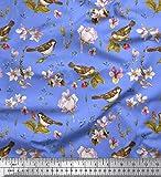 Soimoi Blau Baumwolle Batist Stoff Spatz, Blättern Apache