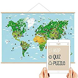 Mappka Interactive World Map Poster for Kids Augmented Reality Educational Smart Toy - Free app for iOS iPad & Android Tablet - (100 x 70 cm) (Magnetized Wooden Strips)