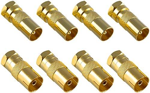 f adapter Poppstar 8x SAT Adapter Koax Antenne (4x F-Stecker auf IEC Antennenstecker, 4x auf Antennenbuchse), Coax Kupplung für Koaxialkabel - Antennenkabel, vergoldet