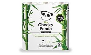 Cheeky Panda Rouleau de papier toilette 100% tissu de bambou – doux, hypoallergénique, super absorbant, sans produits chimiques agressifs