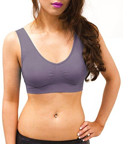Sodacoda Sport Fitness Yoga BH Gepolstert - Bügellos Nahtlos Bequem - 1er / 3er Pack Komfort Bustier - Pastell Lila XXL -