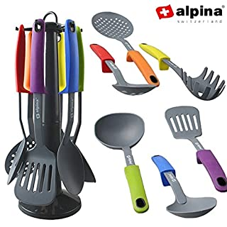 Alpina Kitchen Utensils Stand 7pcs, Nylon Multi-Coloured,