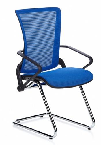 Besucherstuhl / Freischwinger / Stuhl ERGOHUMAN LII Chrom Netzstoff blau hjh OFFICE