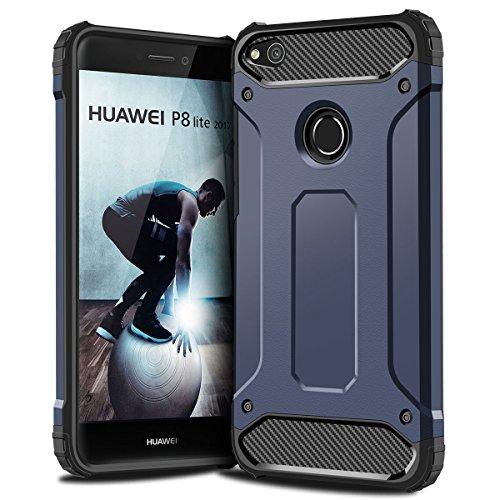 P8 Lite 2017 Hülle, Coolden Premium [Armor Serie] Outdoor Stoßfest Handyhülle Silikon TPU + PC Bumper Cover Doppelschichter Schutz Hülle für Huawei P8 Lite 2017,Huawei P9 Lite 2017, Nova Lite 2017, Honor 8 Lite (Blau)