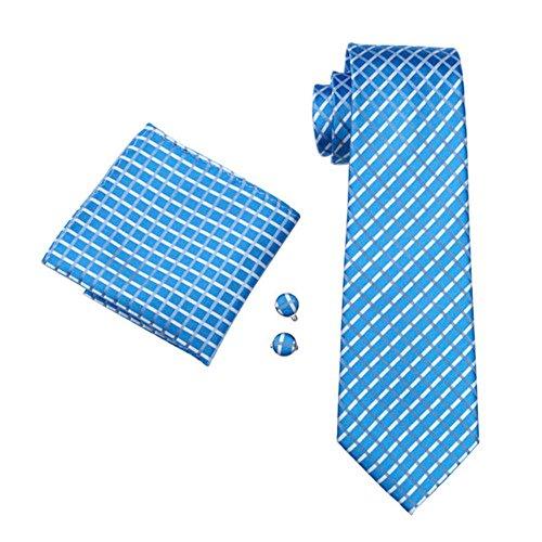 Mens Formal Paisley Striped Floral 100% Silk Woven Neck Tie, Pocket Square Hanky Cufflink Set (Light Blue check) -