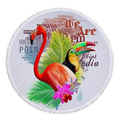 SUYUN Runde Strandtuch Yoga-Matte mit Flow Printing Tropical Plants-01 150 * 150cm
