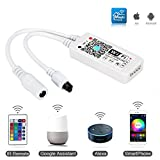 MEKEET RGB Led Streifen Controller,Wlan Smart Led Strip wifi Kontroller, Mini Fernbedienung Schalter für Licht 5050 3528,16 Millionen Farben,20 Dynamische Modi,Sound Aktiviert, Statische Farbwechsel
