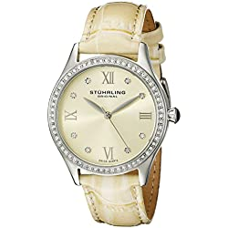 Stuhrling Original Women's Quartz Watch with Beige Dial Analogue Display and Beige Leather Strap 431.03