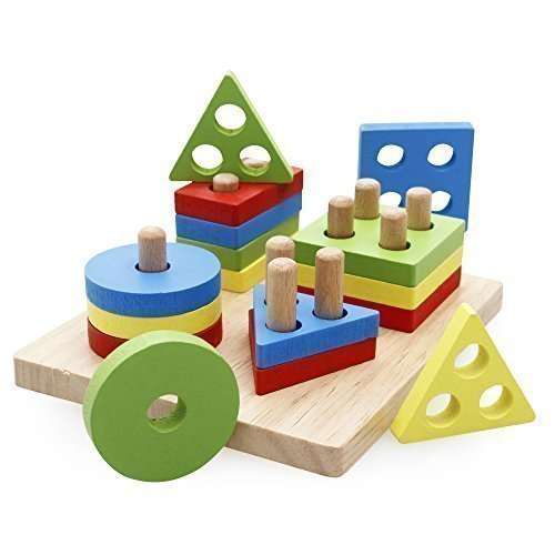 Rolimate Preschool Educational Wooden Shape Color Recognition Geometric Board Block Stack Sort Chunky Puzzle Toys, Birthday gifts toy for age 2 3 4 Years Old and Up Kid Children Baby Toddler Boy Girl