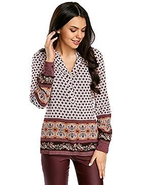 oodji Collection Mujer Blusa Recta con Escote EN V