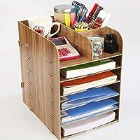 wysm Desktop di legno box di file A4 forniture per ufficio scaffale più strati di finitura guanto Bookshelf dati scatola ( colore : Cherry )