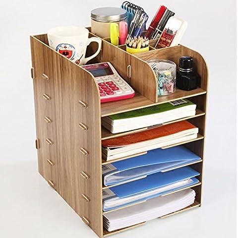 Desktop di legno box di file A4 forniture per ufficio scaffale più strati di finitura guanto Bookshelf dati scatola ( colore : Cherry )