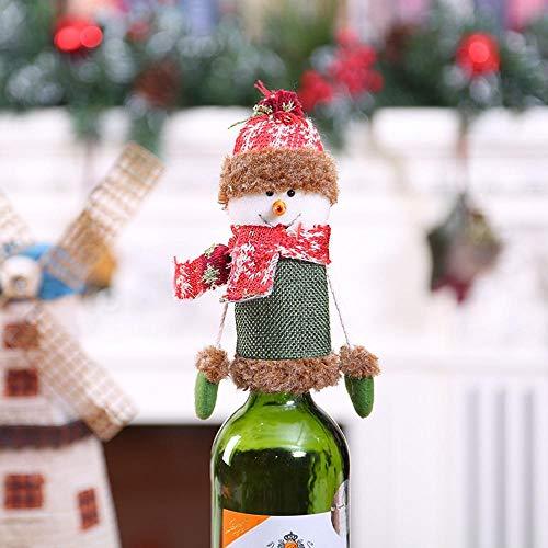 SPFAZJ Weihnachten Tisch Dekoration Weihnachten Dekoration rot Wein Flasche Set Santa Schneemann Champagner Flasche Bar Tisch Soda auftragsmaschinen Auf Deckel Dekoration