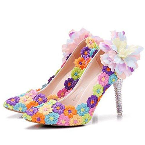Wwtt scarpe con tacco alto e scarpe da sposa colorate con tacco a spillo (color : multicolore, dimensione : 40)