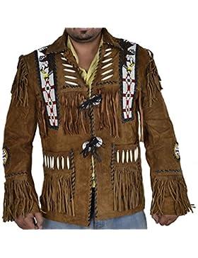 Classyak Men 's Chaqueta de piel con flecos de ante Western Cowboy & Eagle cuentas