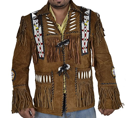 Classyak Hombres de Western Cowboy Chaqueta de Piel de Ante con Flecos y Cuentas de Cristal de Eagle Marrón Ante Marrón XXX-Large
