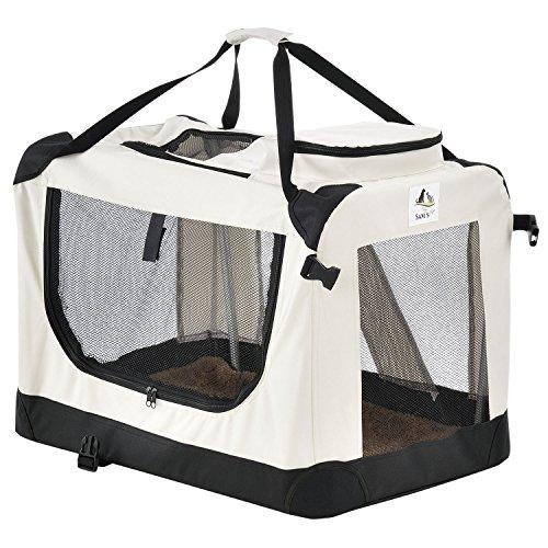 Sam`s Pet Hundetransportbox Lassie faltbar Größe XL beige| Stoff Transportbox große Hunde & Katzen | Faltbare Hundebox für Auto Kofferraum