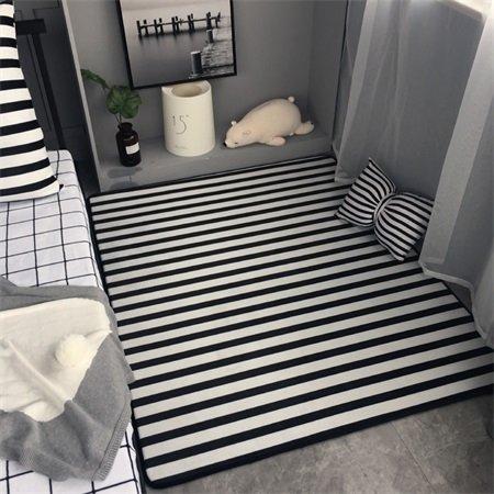 GRENSS Klassische Mode Schwarz Weiß Gestreifte Wohnzimmer Schlafzimmer Salon dekorativen Teppich Teppich Baby Krabbeln Spielteppich Home Dekoration, schwarzer Streifen, 130 x 155 cm 51 x 61 Zoll -