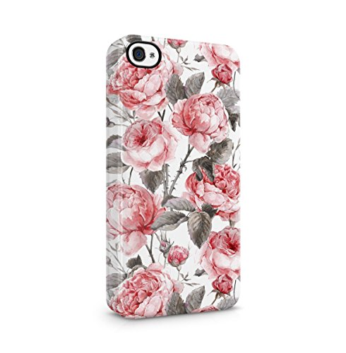 Vintage Blumen Flowers Wild Rosa Peony Pattern Boho Dünne Handy Schutzhülle Hardcase Aus Hartplastik Hülle für iPhone 4 / iPhone 4S Handyhülle Case Cover (Lotus-blume Iphone 4 Case)