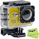 CkeyiN ® 1080P Full HD Impermeable Cámara de Acción Deportiva con Pantalla LCD de 2.0 Pulgadas (Amarillo)
