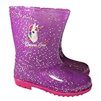 Unicorn Love Girls Glitter Wellington Boots Welly
