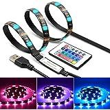 TV LED Light Strip Rétroéclairage USB 6.6ft 60Leds étanche avec télécommande effaçable pour PC de bureau TV 20 Options de couleur (2 meter)