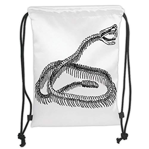 WTZYXS Drawstring Sack Backpacks Bags,Reptile,Black and White Reptile Skeleton Illustration Moving on The Ground Wild Exotic Snake,Black White Soft Satinring Clo,5 Liter Capacity. Tall Iced Tea
