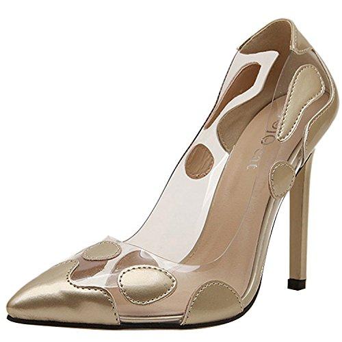 Minetom Scarpe estive da donna con tacco alto a stiletto, parte anteriore a punta con motivo a pois Oro