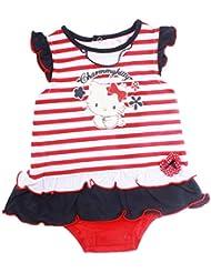 Barboteuse manches courtes bébé fille Charmmy kitty Rayé rouge/blanc 3mois