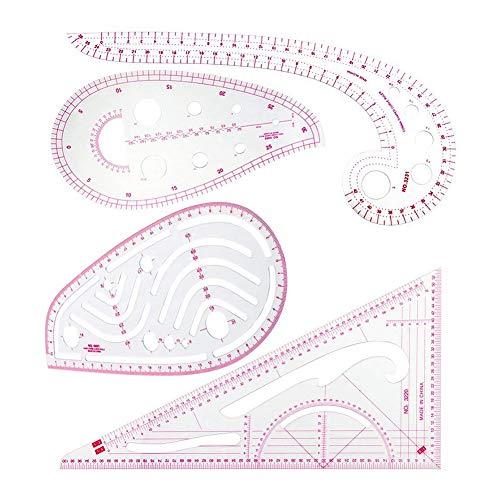 (SNOWINSPRING N?hlineal Set (4 Stück) - Metrisches Lineal Set Franz?sisches Kurven Muster Grading Lineal Schneiderei Zeichnen Zeichnen Ma?vorlage Werkzeuge 4 Stil Für Designer)