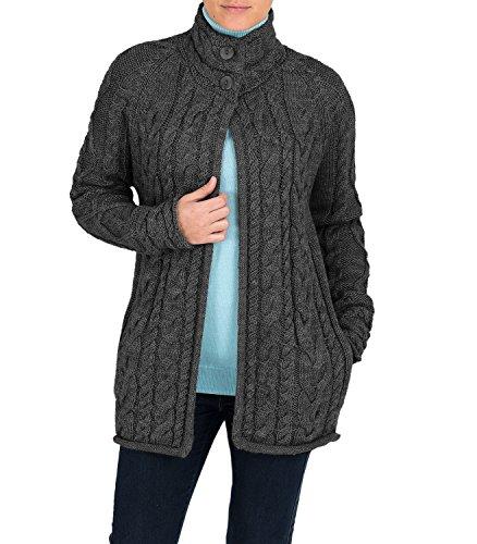 Womens Pure Wool Aran Funnel Neck Cardigan Charcoal, M