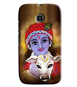 Blue Throat Krishna With Cow Printed Designer Back Cover/ Case For Motorola Moto E2