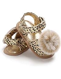 Primavera Verano para bebés niñas Zapatos para niños pequeños Sandalias con Estampado de Leopardo con decoración de Pompones Zapatos de Princesa de Suela Suave Ocasionales - Oro 12 cm