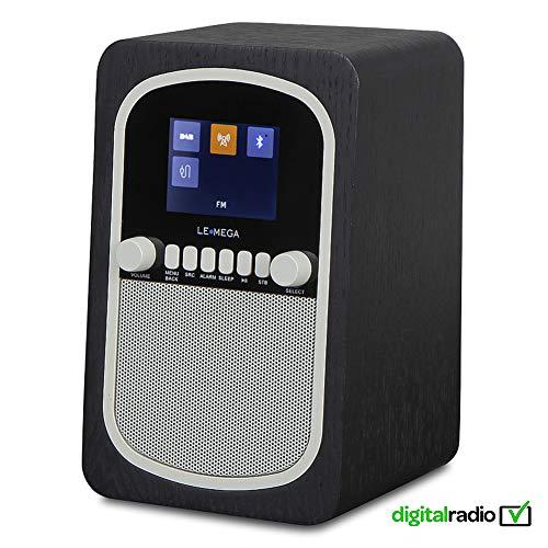 LEMEGA M1 Tragbares Digitalradio Wiederaufladbare Batterie Und Kabelloser Lautsprecher Mit DAB, DAB+, UKW-Radio, Bluetooth, Uhr Und Alarm - Schwarze Eiche (Alarm-radio-bluetooth-uhr)
