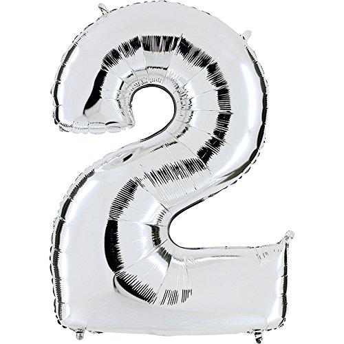 Ballon Zahl 2 in Silber - XXL Riesenzahl 100cm - für Geburtstag Jubiläum & Co - Party Geschenk Dekoration Folienballon Luftballon Happy Birthday (Luftballons Amazon Prime)